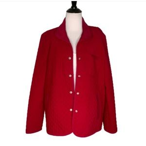 Talbots Red Quilted Jacket With Pockets Medium